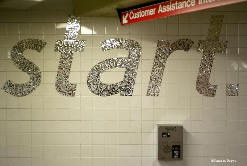 Tile subway art