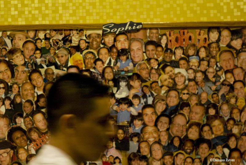 Sophie's customer walking past interior collage