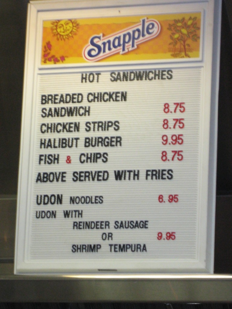 Menu in Anchorage airport