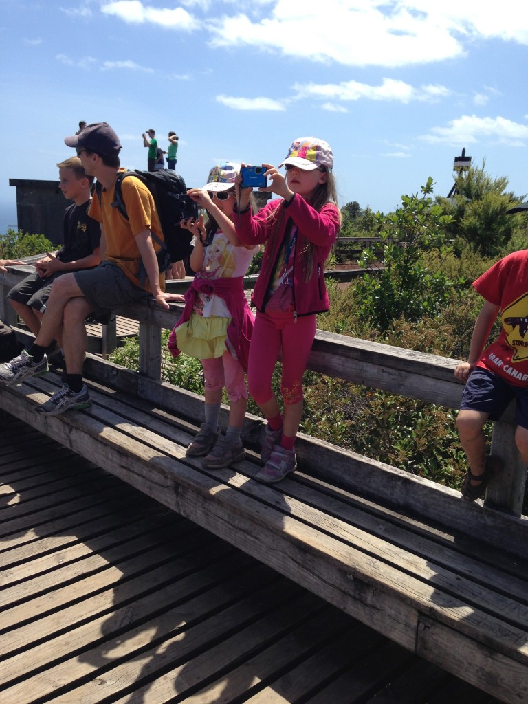 Kids with cameras, Rangitoto Island, NZ