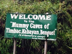 Sign for mummy caves