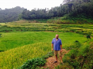 Walking through rice terraces