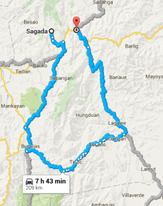 Google maps route from Sagada to Bontoc.